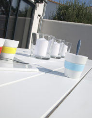 Table azur rectangle détail Océo